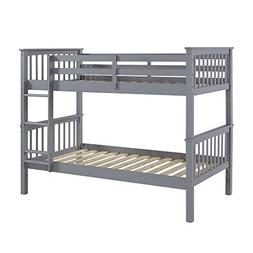WE Furniture Solid Wood Mission Design Bunk Bed, Twin, Grey