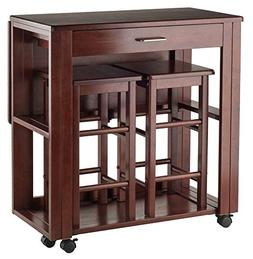 Winsome Wood 3-Pc Space Saver Set in Walnut Finish