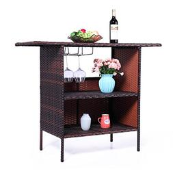 LAZYMOON Outdoor Square Brown Rattan Wicker Bar Counter Tabl
