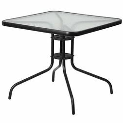 Flash Furniture Square Patio Dining Table with Glass Top