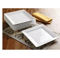 Better Homes and Gardens Square Porcelain Dinner Plates, Whi
