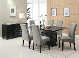 Stanton Contemporary 7-Pc Black and Gray Dining Table Set by
