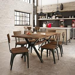 Amisco Station Metal Chairs and Laredo Table, Dining Set Gre