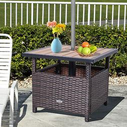 "Outsunny 22"" Steel PE Rattan Wicker Outdoor Patio Accent Tab"