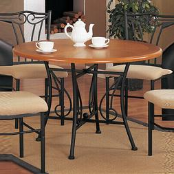 Sturdy Round Wooden Dining Table With Metal Base Brown and B