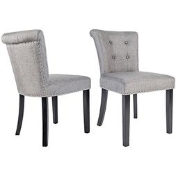 Merax Stylish Button Tufted Upholstered Fabric Dining Chairs
