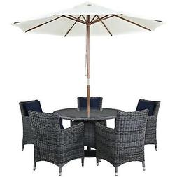Summon Casual 7 Piece Outdoor Patio Sunbrella Round Dining T