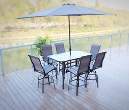 7pc Outdoor Swivel Sling Patio Bar Dining Set - seats 6