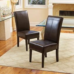 T-stitch Chocolate Brown Leather Dining Chairs  by Christoph