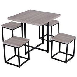 - Table & Chair Sets 5 Piece Wood Steel Space Saving Dining