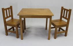eHemco Kids Table and 2 Chairs Set Solid Hard Wood