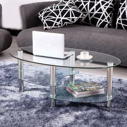 Tempered Glass Oval Side Coffee Table Shelf Chrome  Living R