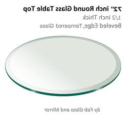 "Fab Glass and Mirror 1/2"" Thick Beveled Tempered Round Glass"