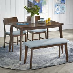 TMS Tiara 4 Piece Dining Set with Table, Cushioned Bench & 2