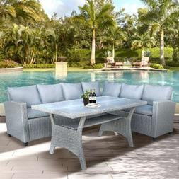 TOPAMX Patio Dining Table Set Outdoor Furniture All-Weather