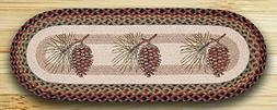 Earth Rugs TR-081 Pinecone Oval Tablerunner, 13 x 36""