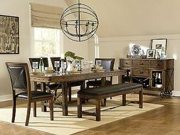 Traditional Brown Rectangular Table Bench Chairs - 6 pieces