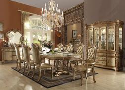 Traditional Gold Dining Room Set NEW 9 pieces Rectangular Ta