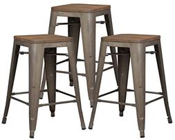 """Poly and Bark Trattoria 24"""" Counter Height Stool with Elmwoo"""