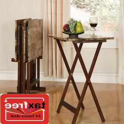 4 Pc Piece Tray Table W/ Storage Stand Set Wood TV Folding F