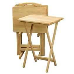 5 Piece Tray Table Set Folding Wood TV Game Snack Dinner Cou