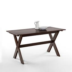 Zinus Trestle Large Wood Dining Table / Espresso