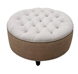 "Tufted Round Ottoman, 30"" Linen and Burlap"