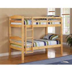 WE Furniture Twin over Twin Solid Wood Bunk Bed, Natural