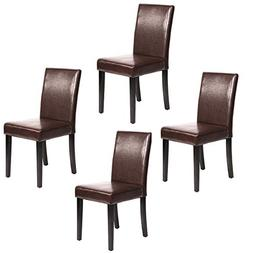 FDW Set of 4 Urban Style Leather Dining Chairs with Solid Wo