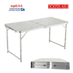 USA Folding 4' Plastic Indoor Outdoor Picnic Dining Camp Tab