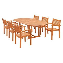 VIFAH V144SET30 7 Piece Outdoor Wood Dining Set with Oval Ex