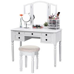 SONGMICS Vanity Set Tri-folding Mirror Make-up Dressing Tabl
