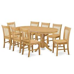 East West Furniture VANO9-OAK-W 9 Piece Kitchen Table and 8