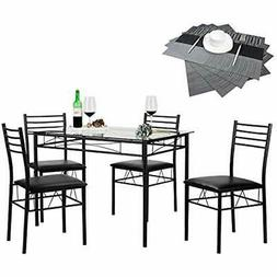 VECELO 5 Piece Dining Table Set With Chairs 4 Placemats Incl