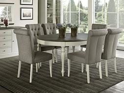 Vegas 7 Piece Round To Oval Extension Dining Table Set for 6