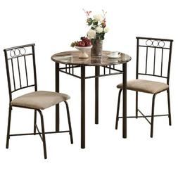 Venice Bronze and Marble Style 3-Piece Bistro Dining Set, Ca