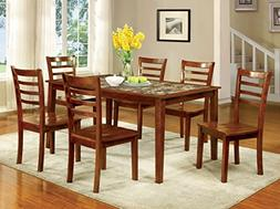 Furniture of America Venice 7-Piece Faux Marble Top Dining S