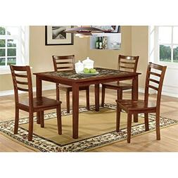 Furniture of America Venice 5-Piece Faux Marble Top Dining S