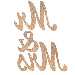 ling's moment Wooden Mr & Mrs Letters Freestanding Wedding S