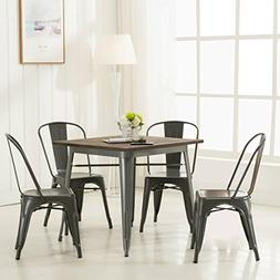 Modern Vintage Metal Stackable Dining Chairs with Backs  Tol