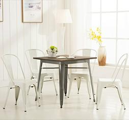 Modern Vintage White Metal Stackable Dining Chic Bistro Cafe