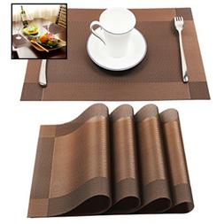 Homcomoda Vinyl Brown Placemats Heat Resistant Dining Table