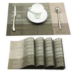 Homcomoda Vinyl Placemats Washable Dining Table Mats Heat Re
