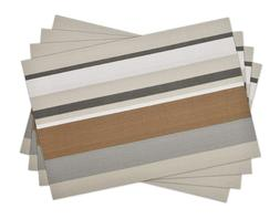 Vinyl Placemats Set of 4, Striped Brown Woven Kitchen Placem