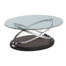 Emerald Home Vision Oval Cocktail Table W/Glass Top