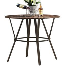 "O&K Furniture 42"" W Industrial Round Dining Table, Pub Heigh"