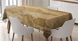Ambesonne Wanderlust Decor Tablecloth, Anthique Old World Ma