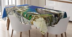 Wanderlust Decor Tablecloth by Ambesonne, Binifacio Town in