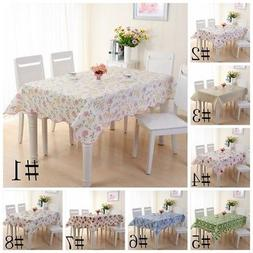 Waterproof PVC Vinyl Wipe Clean Tablecloth Dining Kitchen Ta
