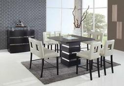 Wenge & Beige Bar Table/Chairs/Benches Dining Set 7Pcs Globa